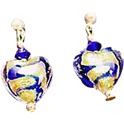 Gorgeous Venetian Art Glass Earrings, Cobalt Blue Swirl 24K Gold Foil Murano Glass Hearts