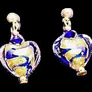 Gorgeous Venetian Art Glass Earrings, Cobalt Blue Swirl 24K Gold Foil Murano Glass Hearts