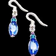 Fabulous Czech Art Glass Earrings, Rare 1960's Blue Czech Beads