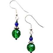 Gorgeous Green Czech Art Glass Earrings, RARE 1950's Faceted Czech Beads