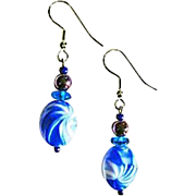 Mod Czech Art Glass Earrings, Rare 1960's Blue Czech Beads
