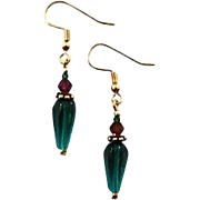 Gorgeous Czech Art Glass Earrings, RARE 1930's Art Deco Czech Glass Beads