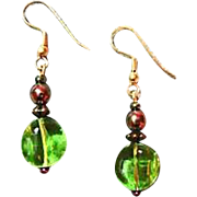 Fabulous Czech Art Glass Earrings, RARE 1960's Peridot Czech Glass Beads