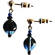 Fabulous Czech Art Glass Earrings, RARE 1960's Czech Glass Beads, Cobalt Blue and Black