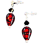 Stunning German Art Glass Earrings, SCARCE Red & Black German Glass Beads