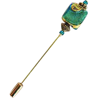 Gorgeous Venetian Art Glass Stick Pin, 24K Gold Foil Murano Glass Bead, Hat Pin