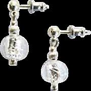 Elegant Venetian Art Glass Earrings, Silver Foil Murano Glass Beads