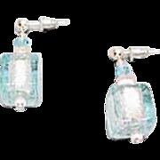 Stunning Aquamarine Venetian Art Glass Earrings, Silver Foil Murano Glass Cube Beads