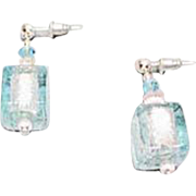 Stunning Aquamarine Venetian Art Glass Earrings, Silver Foil Murano Glass Cube Beads