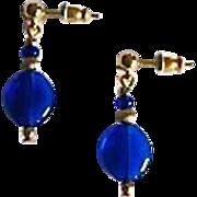 Gorgeous Venetian Art Glass Earrings, RARE 1940's Cobalt Blue Venetian Beads