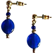 Gorgeous Venetian Art Glass Earrings, RARE 1940's Cobalt Blue Venetian Beads