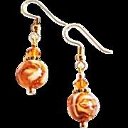 Gorgeous Venetian Art Glass Earrings, RARE 1930's Aventurine Murano Glass Beads