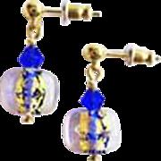 Gorgeous Venetian Art Glass Earrings, Cobalt Blue 24K Gold Foil Murano Glass Beads