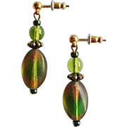 Gorgeous Czech Art Glass Earrings, RARE 1940's Czech Satin Glass Beads