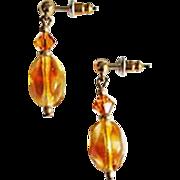 Gorgeous Czech Art Glass Earrings, RARE 1940's Amber Czech Glass Beads
