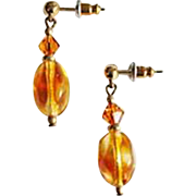 Gorgeous Czech Art Glass Earrings, RARE 1940's Amber Czech Glass Beads
