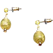 Stunning Venetian Art Glass Earrings, RARE 1920's Venetian 24K Gold Foil Beads