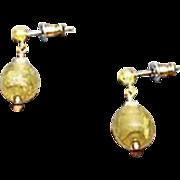 Stunning Venetian Art Glass Earrings, RARE 1920's Venetian 24K Gold Foil Beads