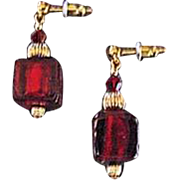 Gorgeous Red Venetian Art Glass Earrings, 24K Gold Foil Murano Glass Beads