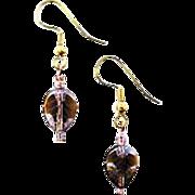 Fabulous German Leaf Glass Earrings, RARE 1960's Pressed Glass Beads