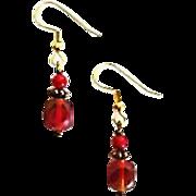 FABULOUS Czech Art Glass Earrings, RARE 1950's Czech Satin Glass Beads