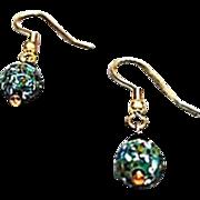 MOD Czech Art Glass Earrings, RARE 1960's Czech Glass Beads