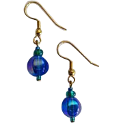 DAZZLING Blue Czech Art Glass Earrings, RARE 1960's Metallic Czech Glass Beads