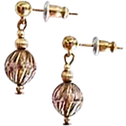 STUNNING Art Deco Czech Art Glass Earrings, RARE 1930's Czech Glass Beads, Art Deco Beads