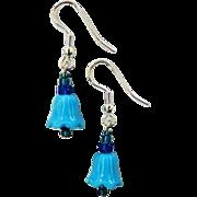 FABULOUS Venetian Art Glass Bell Earrings, RARE 1930's Turquoise Venetian Glass Beads