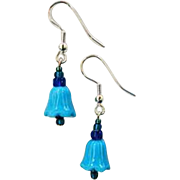 FABULOUS Venetian Art Glass Bell Earrings, RARE 1930's Turquoise Venetian Glass Beads
