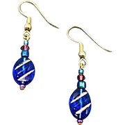MOD Blue Czech Art Glass Earrings, RARE 1960's Czech Glass Beads