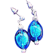 GORGEOUS Aegean Blue Venetian Art Glass Earrings,  Silver Foil Murano Glass Beads