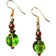 MOD Czech Art Glass Earrings, RARE 1960's Peridot Czech Glass Beads