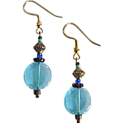 MOD Aqua Czech Art Glass Earrings, RARE 1960's Czech Glass Beads
