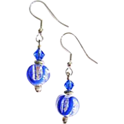 GORGEOUS Venetian Art Glass Earrings, Silver Foil Murano Glass Beads, Sapphire Blue Swirls