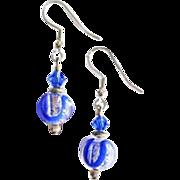 GORGEOUS Venetian Art Glass Earrings, Silver Foil Murano Glass Beads, Sapphire Blue Swirls