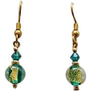 STUNNING Teal Venetian Art Glass Earrings, 24k Gold Foil Murano Glass Beads