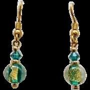 STUNNING Teal Venetian Art Glass Earrings, 24k Gold Foil Murano Glass Beads