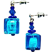 DAZZLING Venetian Art Glass Earrings, Aegean Blue Silver Foil Murano Glass Beads, Cubes