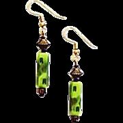 MOD Czech Art Glass Earrings, RARE 1960's Olivine Czech Glass Beads