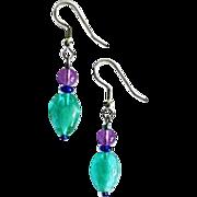 STUNNING Teal Czech Art Glass Earrings, RARE 1960's Czech Glass Beads