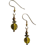 STUNNING Czech Art Glass Earrings, RARE 1960's Olivine Czech Glass Beads