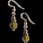 STUNNING Czech Art Glass Earrings, RARE 1960's Olivine Czech Glass Beads