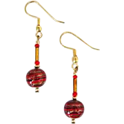 STUNNING Aventurina Venetian Art Glass Earrings, Red & Black Murano Glass Beads