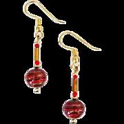 STUNNING Aventurina Venetian Art Glass Earrings, Red & Black Murano Glass Beads