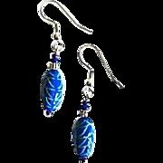 MOD Czech Art Glass Earrings, RARE 1960's Blue Czech Beads