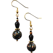 STUNNING Venetian Glass Earrings, RARE 1940's Venetian Glass Beads, Black & Gold