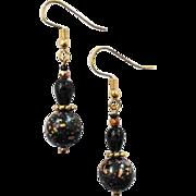 STUNNING Venetian Glass Earrings, RARE 1940's Venetian Glass Beads, Black & Gold