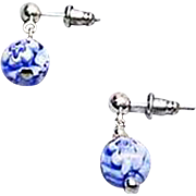 STUNNING  Millefiori Venetian Art Glass Earrings, Blue & White Murano Glass Beads