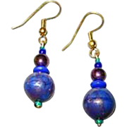 GORGEOUS Aventurine Venetian Art Glass Earrings, RARE 1940's Venetian Aventurina Glass Beads